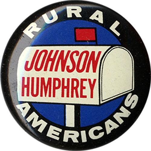 1964 Johnson Humphrey RURAL AMERICANS Campaign Button ~ Scarce Design 2883