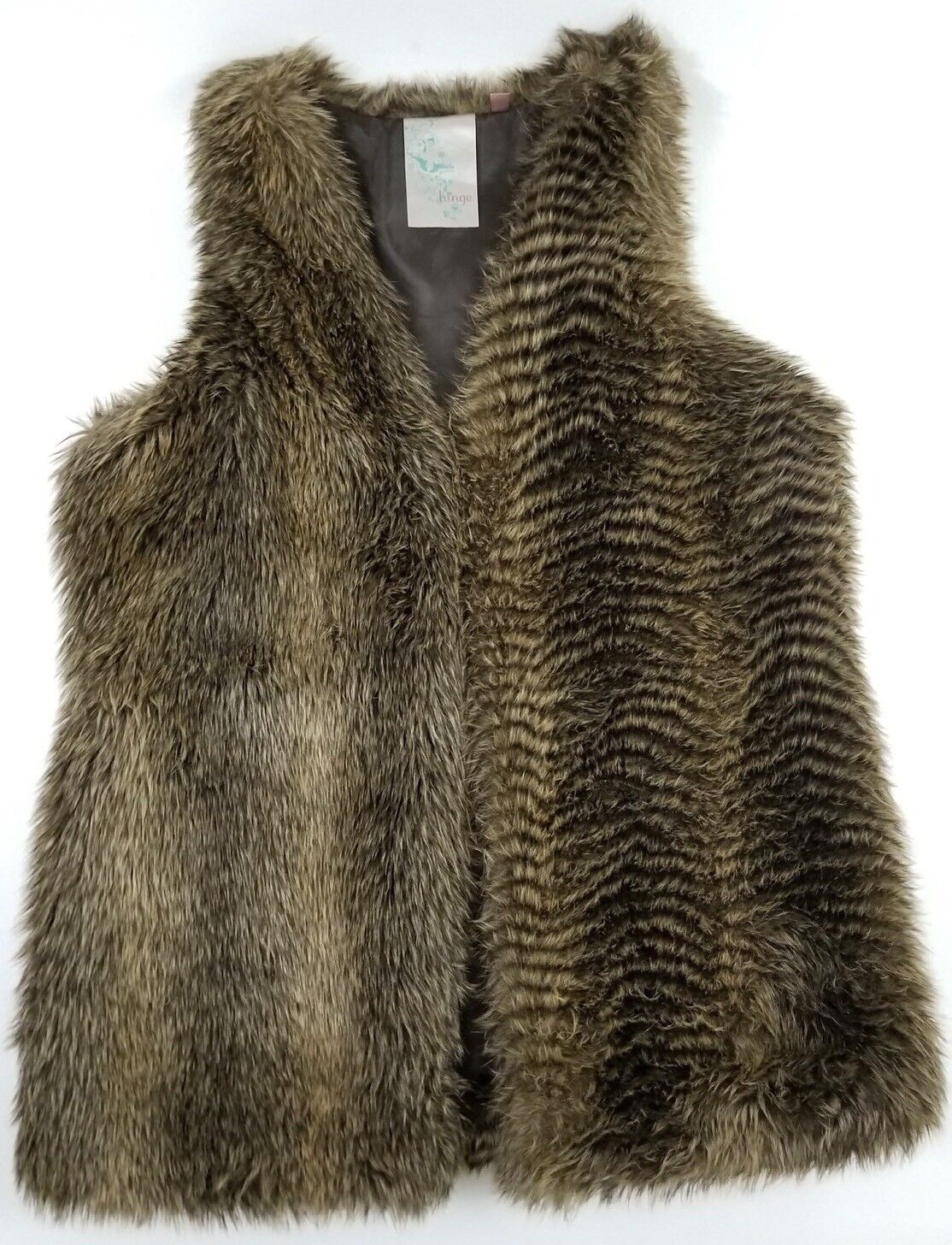 Hinge Womens Size Large Faux Fur Open Front Vest Sweater Long Lined Change Print
