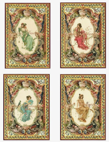 "4 Art Nouveau Lady Collage Cotton Fabric Quilt Block @ 3.5X5/"" on 8.5X11/"" Sheet"