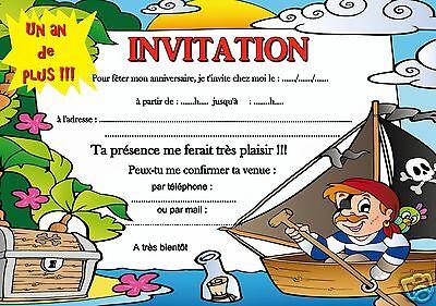 5 - 12 - 14 cartes invitation anniversaire pirate REF 341 | eBay