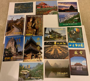 Lot of 14 vintage Souvenir Postcards Folders Asian Countries