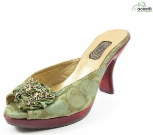 NUOVO salpy verde motivo cachemire broccato Pantofole W/Bejeweled FARFALLA