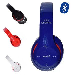 Detalles de P15 Wireless Bluetooth 3.0 Casco Auriculares Inalámbricos con Microfono FM Radio