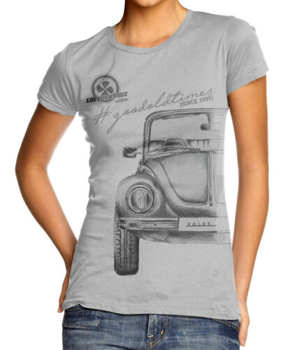 T-Shirt Baumwollmischung Oldtimer Volkswagen Käfer Damen grau