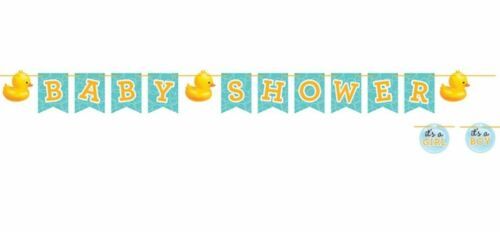Bubble Bath Baby Shower Shaped Ribbon Banner Rubber Ducky