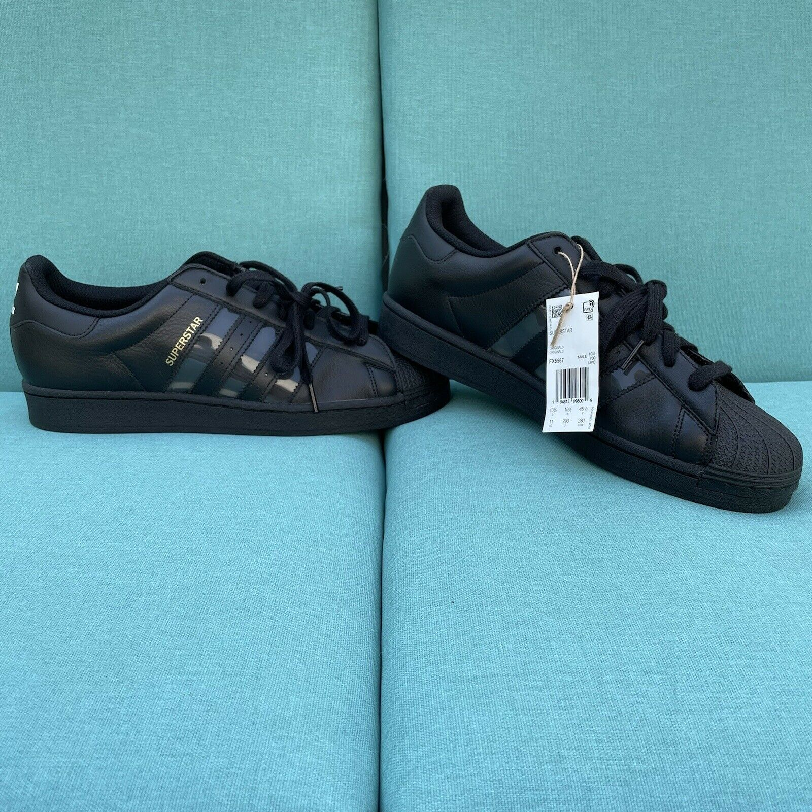 New Adidas Shoes Superstar 'Black Transparent' FX5567 Mens Size 11 Leather