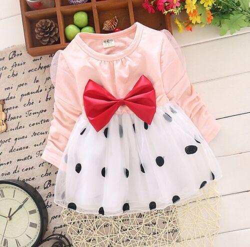 Kids baby Girls party dress Baby Pretty Bowknot Top Polka Dot Tutu Dress