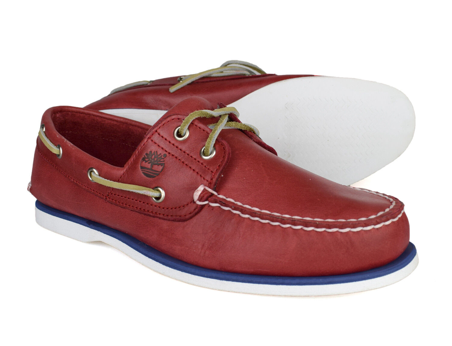 Timberland Classic 2 Mens rot Leather Up Boat schuhe 6829B