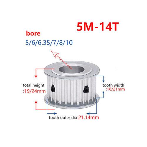 5M 14T Timing Belt Pulley Gear Wheel Sprocket 5-10mm Bore For 15//20mm Width Belt