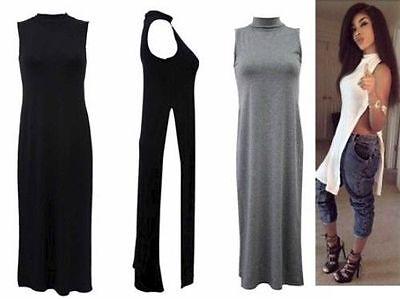 Womens Sleeveless Long Split Side Vest Polo Neck Top Ladies New Dresses UK 8-14