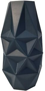 25cm-Tall-Wide-Mouth-Prism-Navy-Blue-Glass-Flower-Vase