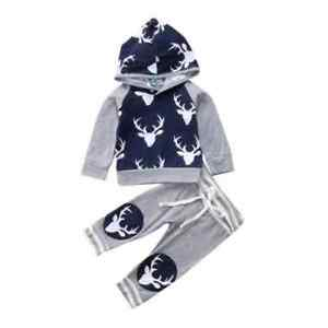 NWT-Baby-Boys-Reindeer-Blue-Gray-Hoodie-Hooded-Shirt-amp-Pants-Sweat-Suit-Outfit
