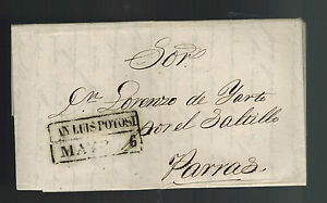 1842 San Luis Potosi Mexico Stampless Letter sheet Cover to Parras
