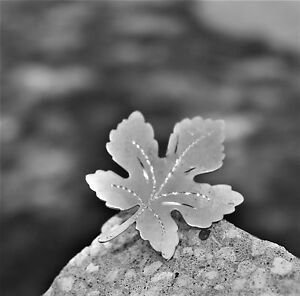 Maple-leaf-etched-silver-tone-BROOCH