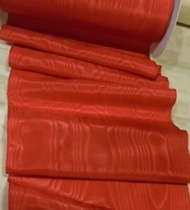 4-034-WIDE-GERMAN-RAYON-MOIRE-039-RIBBON-RED