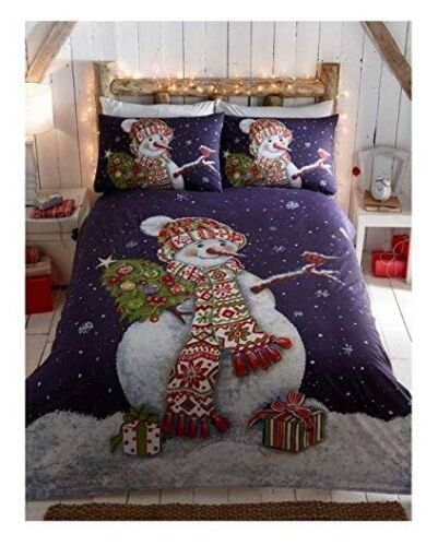 Happy Snowman Quilt Duvet Cover Set and 2 Pillowcase Bedding Bed Set King Size
