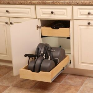 Kitchen Sliding Cabinet Pot Pan Cookware Drawer Organizer