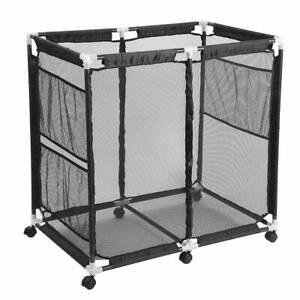 Mesh-Pool-Storage-Bin-Metal-Frame-Rolling-Cart-Storage-Toys-Dry-Basket-Organizer
