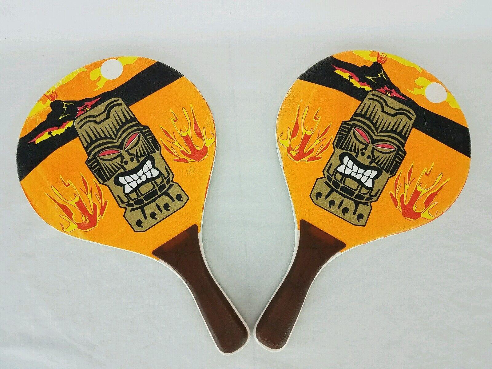 Tiki Ping Pong Paddle Hawaii Volcano Wooden Bar Man Cave beach ball