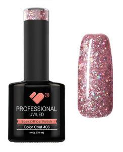 406 Vb Line Light Rose Silver Glitter Uvled Nail Gel Polish