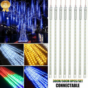 30-50CM-LED-Meteor-Shower-Lights-Xmas-Rain-Drop-Icicle-Outdoor-Falling-Star-Lamp