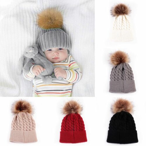 Baby Infant Girls Boys Winter Warm Knit Beanie Fur Pom Hat Crochet Ski Ball Cap