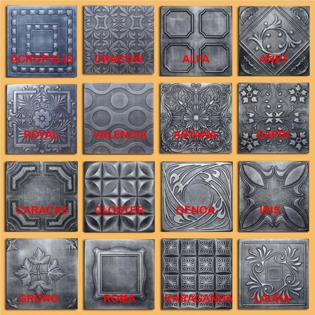 Lot of 30pc Antique Ceiling Tile - 20x20  Different 16 Design Silver/Graphite