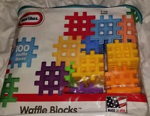Little-Tikes-Waffle-Blocks-Set-of-100-Pcs-NEW-Primary-Colors