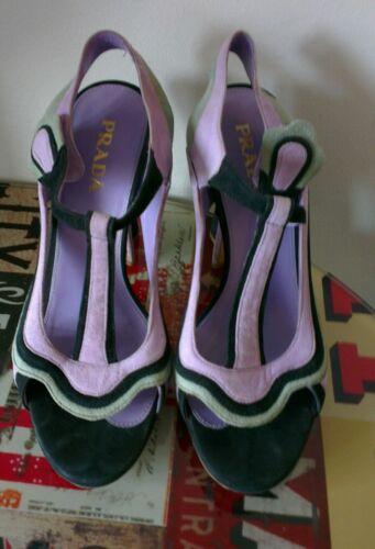 Miu 37 Heels Flare Uk Lilla 4 Suede Prada Fairy Runway Iconic Collection nWXSgO11q