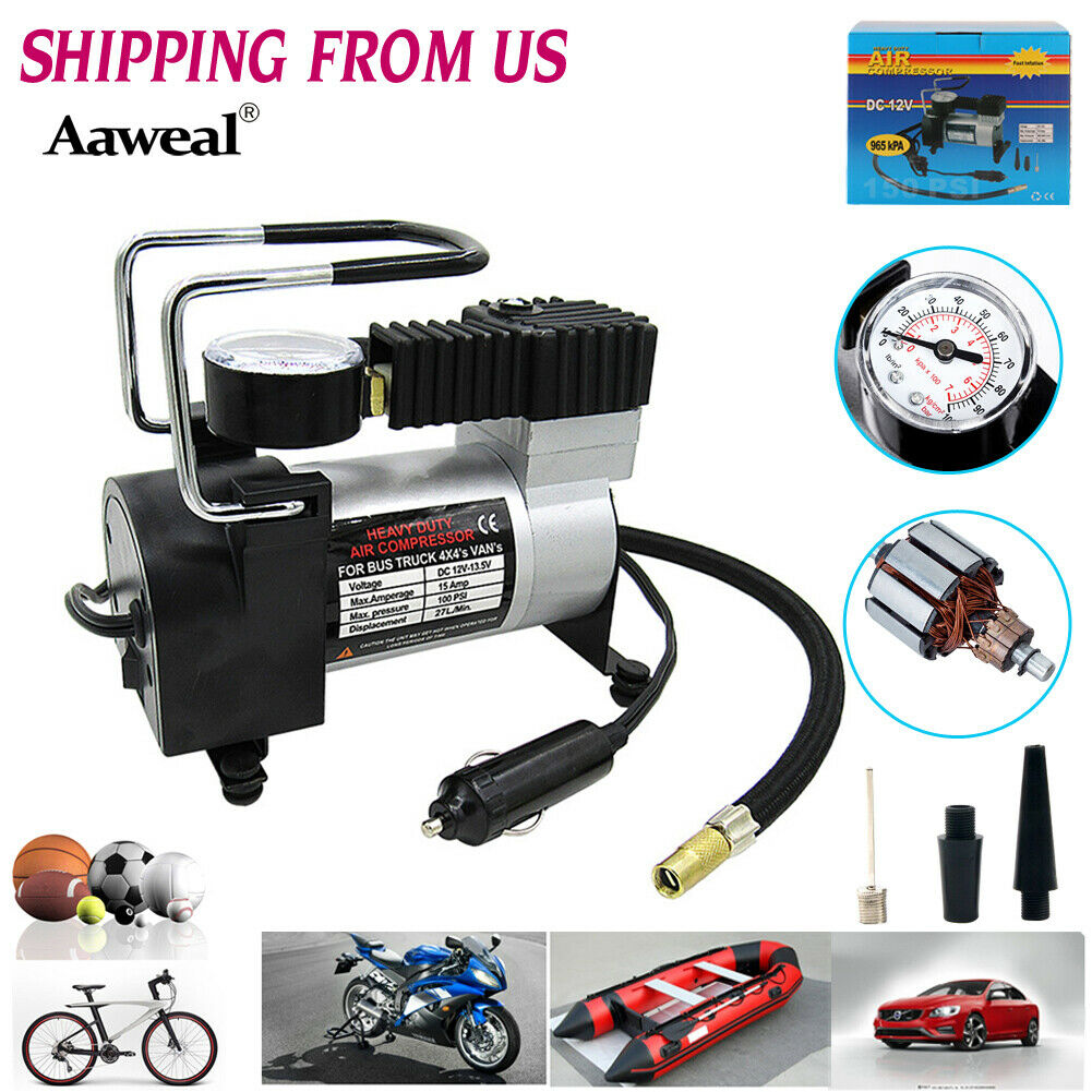 HEAVY DUTY 12V Portable Air Compressor Car Tire Inflator Auto Tyre Pump 150PSI. Available Now for 24.69