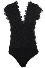 Ladies Sleeveless Plunge V Neck Back Floral Lace Lined Bodysuit Leotard Top