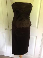 COAST stunning chocolate brown pencil skirt & bustier 2 piece dress UK 10 - 12