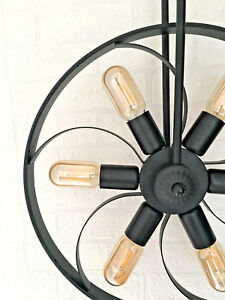 Black-Wheel-Propeller-Ceiling-LED-Light-Rustic-Modern-Vintage-Industrial-Pendant