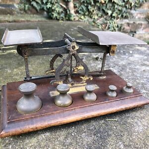 Vintage Antique Brass Postal Letter Scales 5 Brass Weights Interior Design Retro