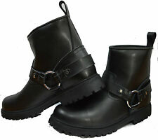 SHORT LEATHER CRUISER TOURING MOTORBIKE MOTORCYCLE MENS BOOTS