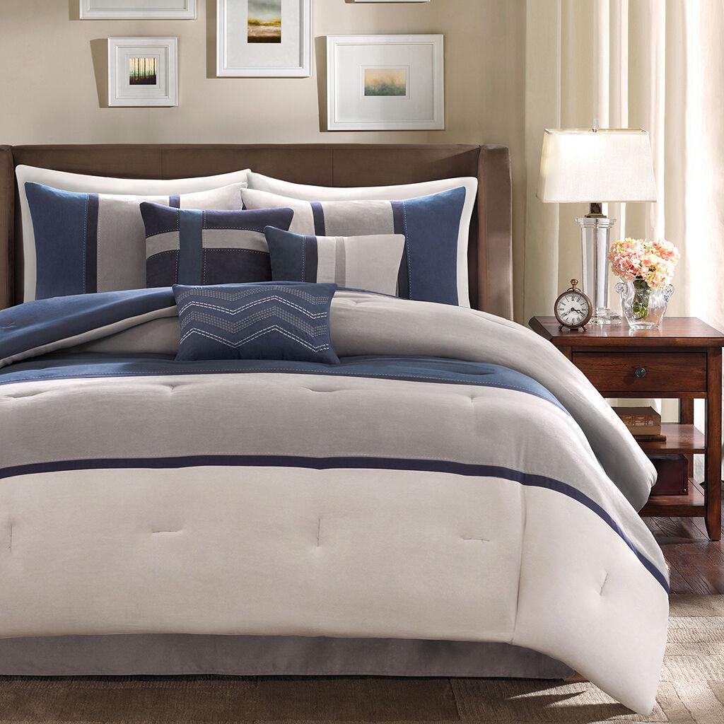 BEAUTIFUL ULTRA SOFT Blau grau NAVY CHEVRON MODERN STRIPE COMFORTER & PILLOW SET