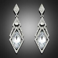 Boucles d'oreilles Swarovski® Elements losanges longues romantique transparentes