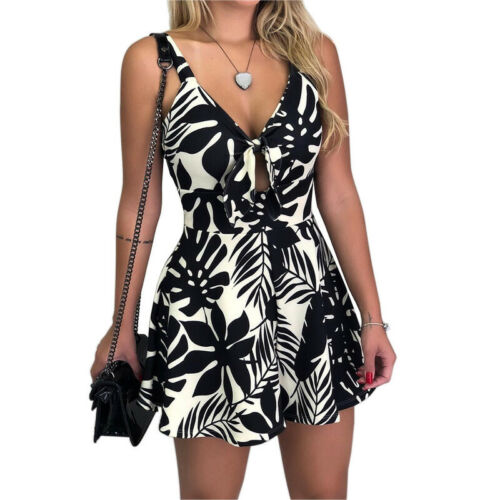 Shorts Jumpsuit Women/'s Mini Clubwear Summer Romper Holiday Playsuit FLOWER