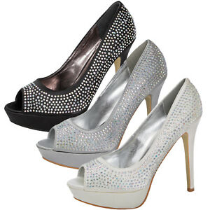 94949e0a1cb3 Image is loading Womens-Diamante-Wedding-Shoes-Ladies-Satin-Bridal-High-
