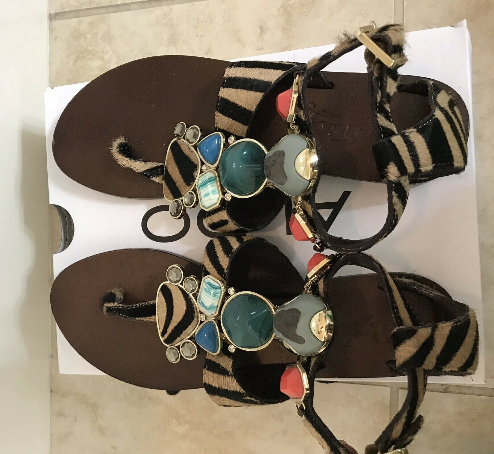 Jewelry Black brown Vero Quoio Sandals Print Zebra For Summer Size 6