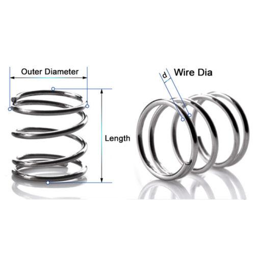10Pcs fil dia 1.8 mm//2.0 mm ressort de compression OD 12mm-30mm Petits Ressorts en Acier