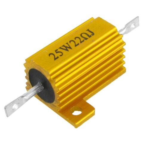 6Pcs Oro Tono de aluminio revestido de Resistor 25W 22 Ohm reisistanc