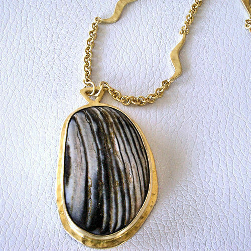 """Heather Benjamin Fossilized Oyster Wave Chain Necklace 22k Vermeil Sterling 32/"""""""