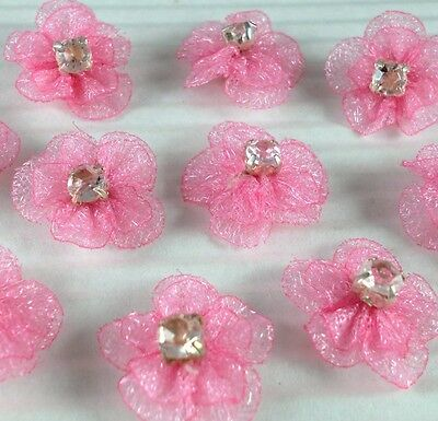 Cute Organza Flower w/ Rhinestone Sewing Appliques x 50 Hot pink