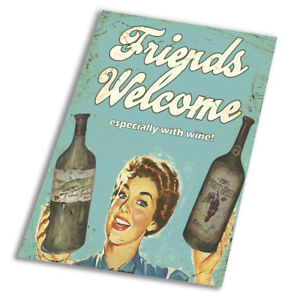 A1 A2 A3 A4 A5 Friends welcome with wine Vintage Art Print Poster