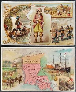 Victorian Trade Cards (2) Arbuckle's Ariosa Coffee 2 separate series Louisiana