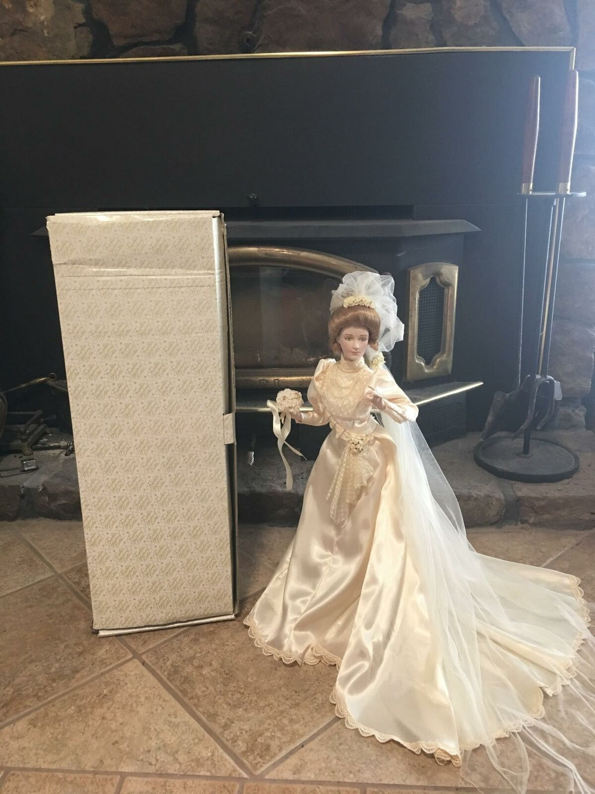 1987 GIBSON GIRL BRIDE WEDDING DOLL FRANKLIN HEIRLOOM MINT PORCELAIN W  BOX
