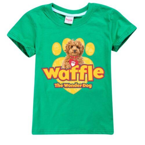 New Boys T-Shirt Waffle The Wonder Dog Girls Casual Short Sleeve Tee Tops Gift