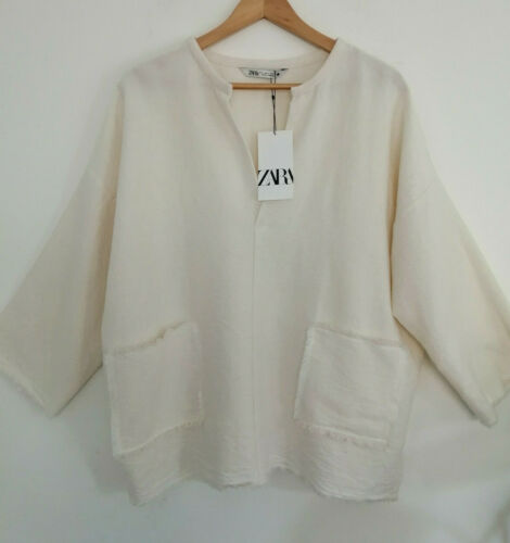 ZARA SS20 Linen Rustic Blouse Top With Pockets XS S M L XL XXL Loose Fit Oyster