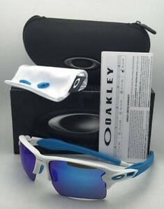 5f052fd76b7 New OAKLEY Sunglasses FLAK 2.0 XL OO9188-02 White Frame w  Sapphire ...